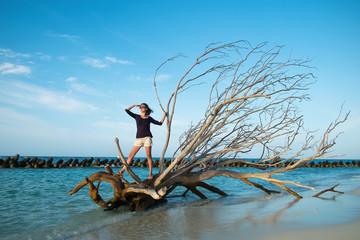 Girl on a driftwood