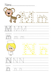 Alphabet handwriting M N