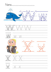 Alphabet handwriting W X