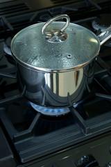 Saucepan on a gas cooker hob