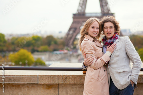 Couple spending their honeymoon in Paris