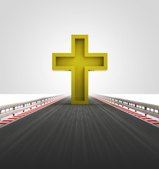 golden cross on motorway track leading to church