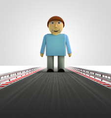 standing man on motorway track leading to introduction