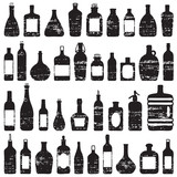 Various bottles scratched vector silhouette icons set