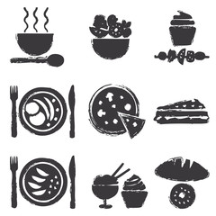 Hand drawn food silhouette icons