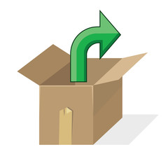 open cardboard box with green arrow pointing out