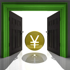 yen or yuan coin in green framed doorway