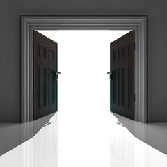 double doorway with shadow on the floor
