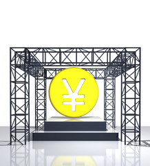 isolated show stage with yen or yuan coin