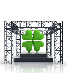 isolated show stage with green cloverleaf