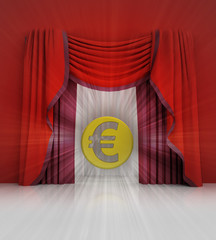 red curtain scene with euro coin and flare