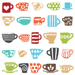 Various colorful cups and mugs icons