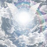Fototapety Angelic presence in tunnel of light
