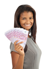 Pretty african american woman holding money