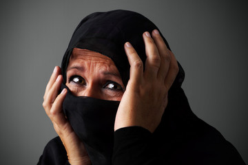 Muslim woman in distress