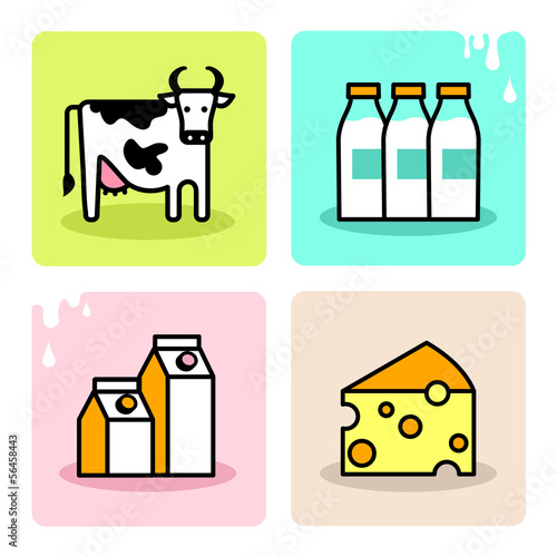 Dairy milk icon set