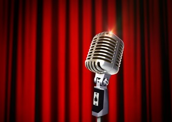 Vintage Microphone over Red Curtains