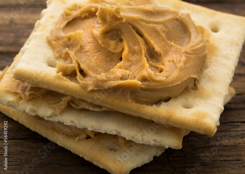 canvas print picture Peanut Butter on Crackers