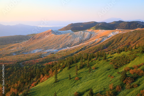 Mt. Kusatsu-Shirane glows in the morning sun, Japan