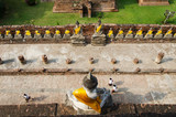 Top view of Buddha statue at Old Temple Wat Yai Chai Mongkhon, A