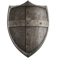 medieval crusader's metal shield isolated with clipping path inc