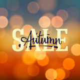 Autumn Sale poster bokeh background, vector Eps10 illustration.