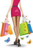 Beautiful girl with a lots of shopping bags. Vector illustration