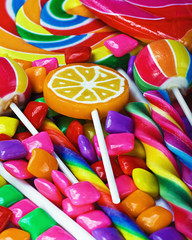 multi-colored sweets and chewing gum