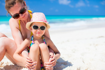 Mother and daughter at beach