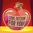 Love potion for you. Vector illustration.