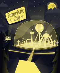 Night futuristic city. Vector illustration.