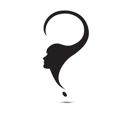 question mark female head