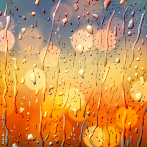 Autumn background, view through wet glass, vector Eps10.
