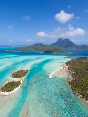 bora bora from helicopter
