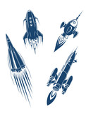 Space ships and spacecrafts set