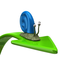 3d illustration of blue snail on green arrow