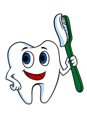 White tooth with tooth-brush