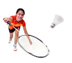 badminton player isolated on white background