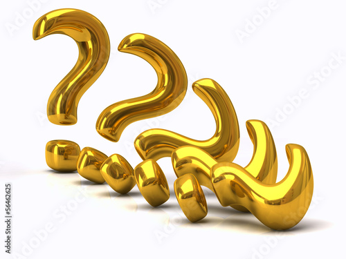 Golden question mark signs