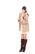 young asian woman wearing coat on white background