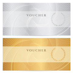 Voucher, Gift certificate, Coupon, Ticket. Guilloche pattern