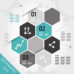turquoise infographic hexagons with axis