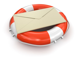 Lifebuoy and letter (clipping path included)