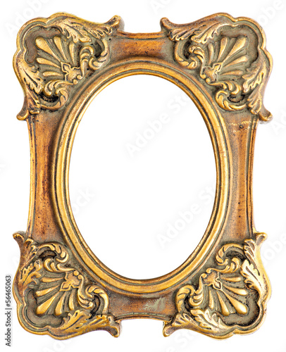 vintage style antique golden frame isolated on white