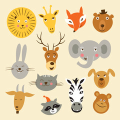 Heads of cartoon animals, vector set