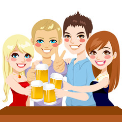 Young Friends Beer Toast