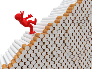 Man falls from cigarettes (clipping path included)