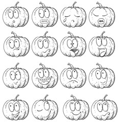 Hand drawn sketch of many  emotions on pumpkin
