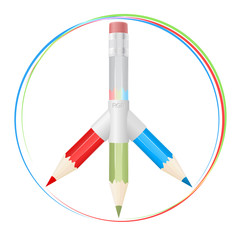 Peace symbol with RGB pencils