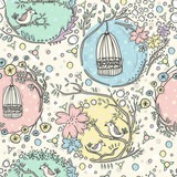 Seamless pattern with birdcages, flowers and birds.